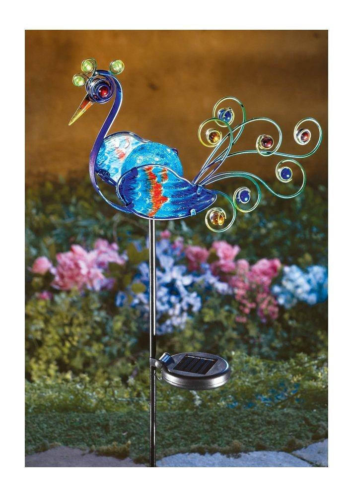 NE Shopping Decorative Multicolor Solar lighted Peacock Metal Garden Stake
