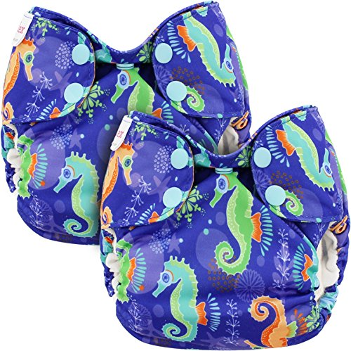 Blueberry Newborn Simplex All in One Cloth Diapers, Bundle of 2, Made in USA (Seahorse)