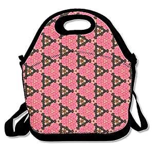 Pink-black-triangle-wallpaper Waterproof Reusable Neoprene Lunch Box With Adjustable Shoulder Strap For Men Women Adults Kids Toddler Nurses