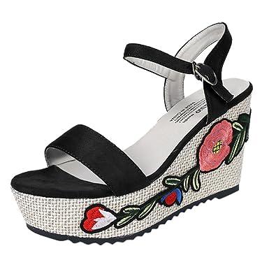 Sandales de Dame Les Sandalettes l été Femme honestyi Les Femmes Broderies  Cheville de Broderie 05966e1c1349