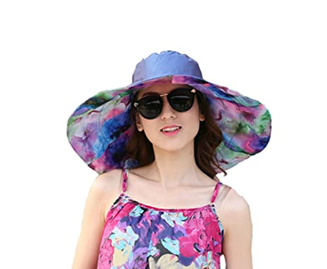 4621b3c61 JGJ Womens Sun Hat Reversible Summer Beach Hat UPF 50+ Foldable Wide Brim  Floppy Sun Cap (Blue)