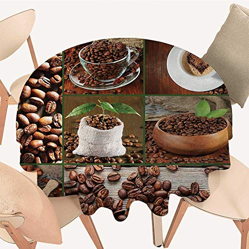 Vinyl Bean Burgundy Bag - longbuyer Brown Wrinkle Free Tablecloths Collage of Coffee Beans in Cups and Bags with Green Leaves on Wooden Table Photo Round Tablecloth D 36