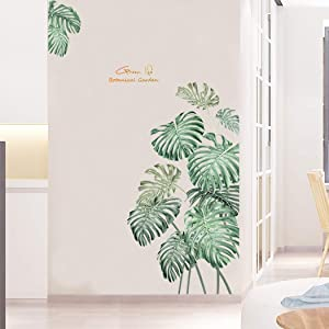 Dosminer Tropical Plant Wall Decals, Green Monstera Leaves Wall Stickers Nature Palm Leaf Wall Art Murals, Removable Vinyl Wall Decor for Office Bedroom