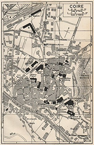 Amazoncom CHUR COIRE Vintage town city map plan Switzerland