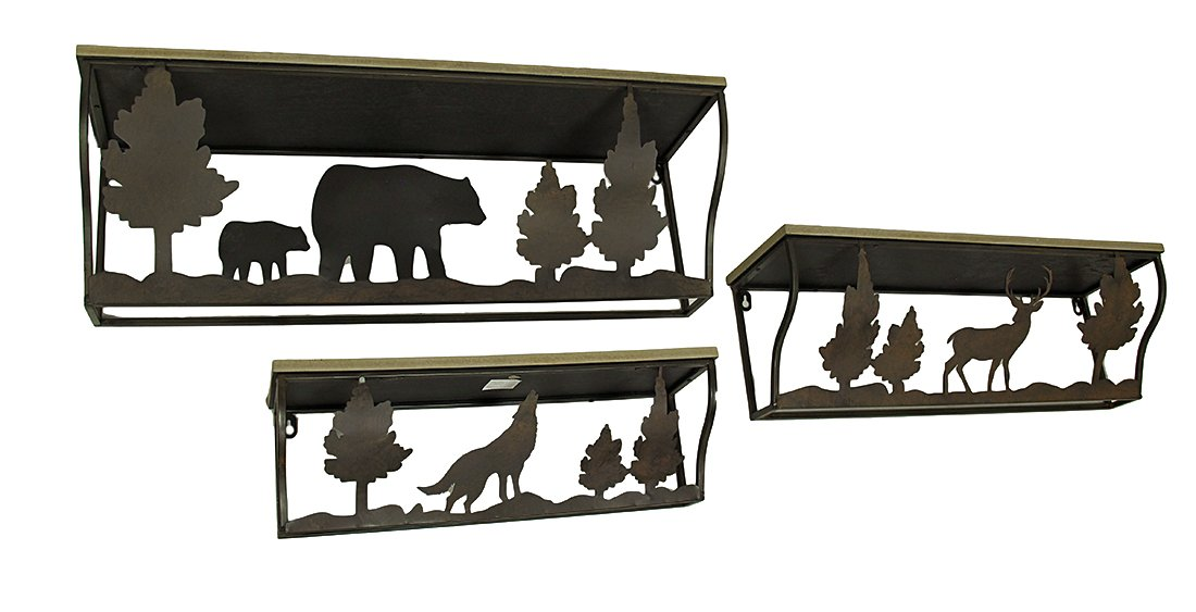 Wood & Metal Hanging Shelves 3 Piece Forest Animal Rustic Blackened Brown Wood And Metal Wall Shelf Set 28 X 9 X 8 Inches Brown by Zeckos (Image #1)