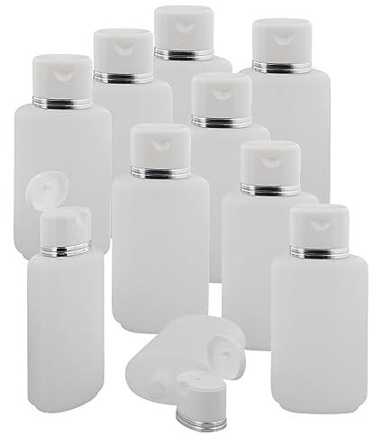 ovalada – Botellas transparente con borde plateado 250 ml Kosmetex vacía para rellenar con gel,