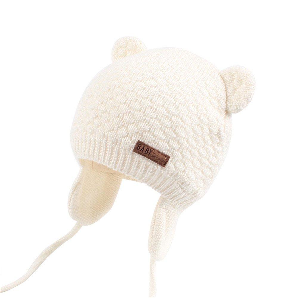 XIAOHAWANG Warm Baby Hat Cute Bear Toddler Earflap Beanie for Fall Winter (0-7Months, White)