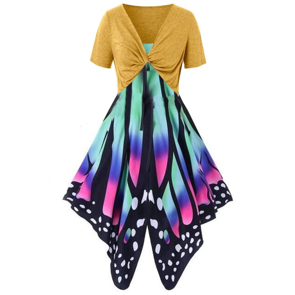 Women's Summer Funny Print Dress Sling Pullover Two-Piece Set ni Dress Sundress Beach Dress Yellow by NIKAIRALEY Dress