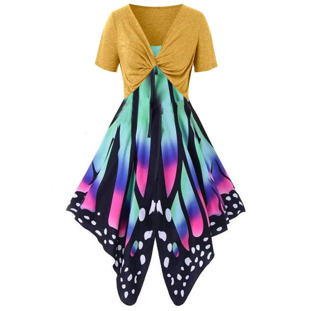 Women's Summer Funny Print Dress Sling Pullover Two-Piece Set ni Dress Sundress Beach Dress Yellow