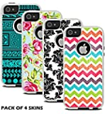 Protective Designer Vinyl Skin Decals for OtterBox Commuter iPhone 5 / 5S / SE Case (Pack of 4 Skins) - Only Skins and Not Case - [TeleSkins]