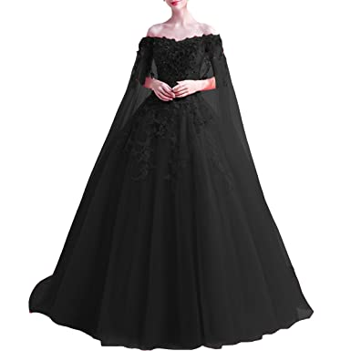682a4bb6d24a Kivary Off Shoulder Long Floral Lace Beaded Prom Wedding Dresses With Cape  Black US 2
