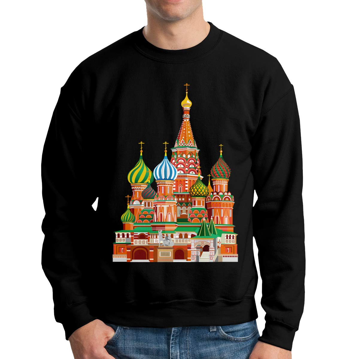 Color Russian Architecture Mens Hoodies Soft Cozy Hooded Sweatshirts Sweater Long Sleeve T Shirt