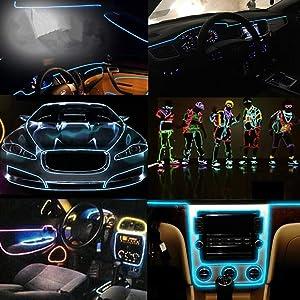 Light Wire El Wires 3m/9ft Neon Tube Lights Car Interior Trim Light Strip DC 12V Flexible LED Lights for Car Decor(Ice Blue)