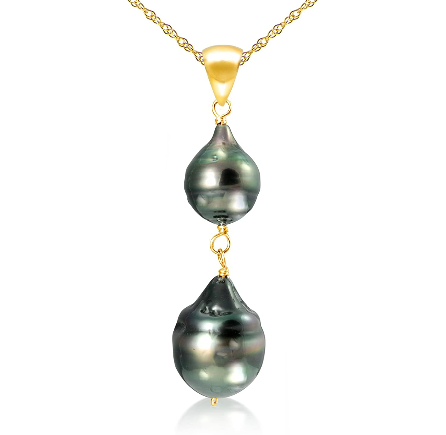"""14k Yellow Gold 8-12mm Black Off Shape Tahitian Cultured Pearl Pendant Necklace, 18"""""""