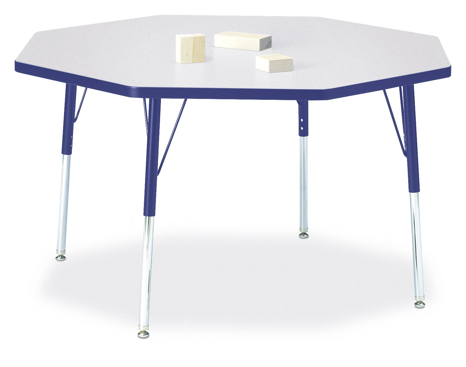 Berries 6428JCA003 Octagon Activity Table, A-Height, 48'' x 48'', Gray/Blue/Blue by Berries