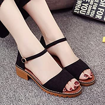 06c2c4a2f76f55 LGK FA Summer Women S Sandals Summer Rough Heel Sandals Students Toe Toe  With Fish Mouth Women S Shoes