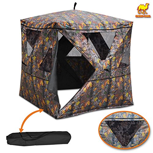 "2-3 Person Camouflage Hunting Blind Ground Deer Archery Outhouse Camo Hunting Shooting Bowhunting Tent 64"" H x 54"" W x 54"" (Archery Blind)"