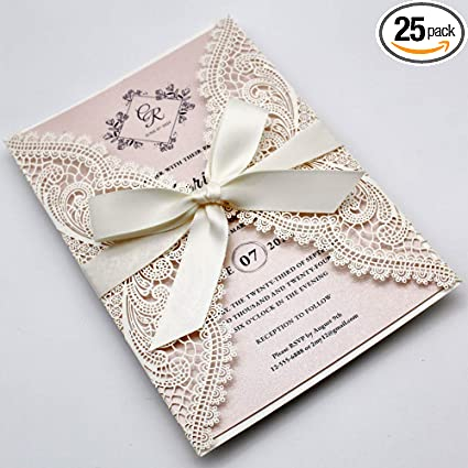 Rustic Wedding Love is Sweet Take A Treat brown card with white lace design