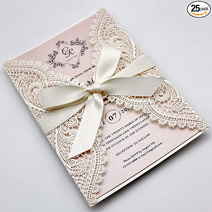 Amazon Com Picky Bride 25 Pack White Lace Laser Cut Wedding Invitations With Blush Pink Shimmer Insert Elegant Invite Cards For Wedding Sweet Sixteen Baby Shower Bridal Shower Birthday Party Health Personal Care