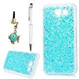 YOKIRIN J3 Emerge Case, Galaxy J3 2017 Case, Luxury Sparkle Shinning Protective Bumper 3D Bling Diamond Glitter Paillette Flexible Soft Rubber Gel TPU Protective Cover Skin Shell,Blue