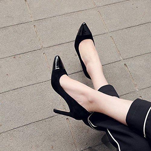 Carolbar Donna Scarpe A Punta Slitta Chic Scarpe Con I Tacchi Alti Nero