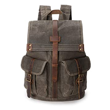 ae7f996d7320 Amazon.com: VICROAD Canvas Backpack, Vintage Leather Backpack ...