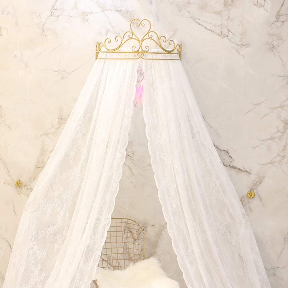 KID LOVE Crown Princess Bed Canopy Lace Mosquito Net for Girls Hanging Play Tent for Kids Bedroom-b