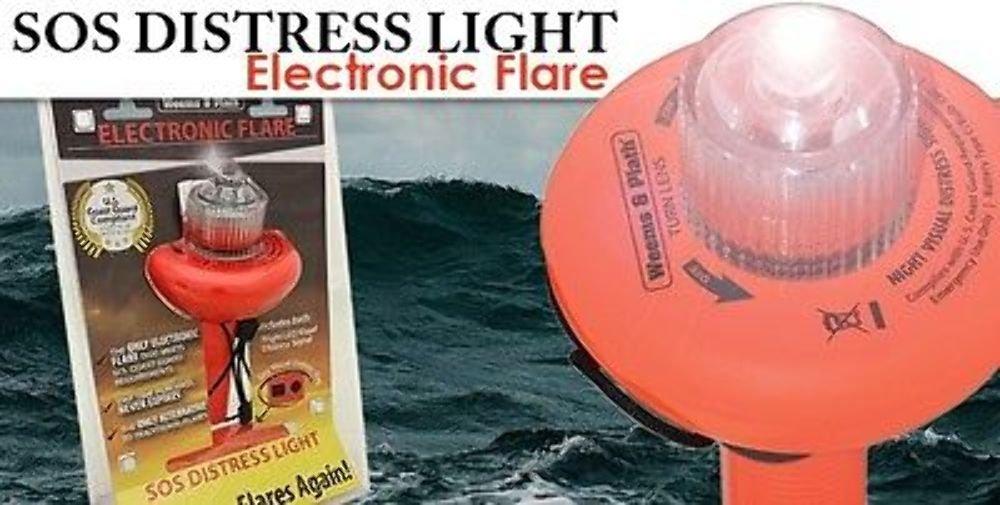 SOS ELECTRONIC FLARE VISUAL DISTRESS FLAG LED LIGHT NEVER BUY FLARES AGAIN