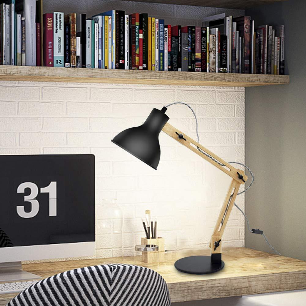 DLLT e27 Tischlampe mit verstellbarer Holzarm Arbeitszimmer Wohnzimmer Schreibtischlampe mit Druckschalter Kinderzimmer usw. f/ür B/üro klassische Leselampe,wei/ß Schlafzimmer