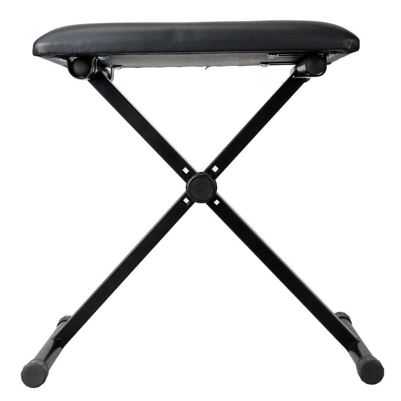 colore Paneltech sedile pieghevole tastiera in pelle imbottita per pianoforte Nero regolabile gomma piedi sgabello pieghevole