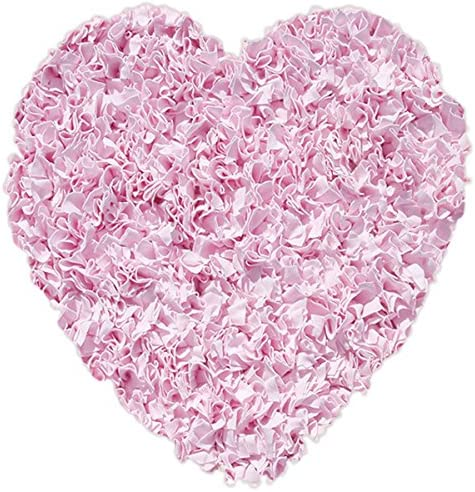 The Rug Market Shaggy Raggy Heart Pink Area Rug Size 3 x3 HEART