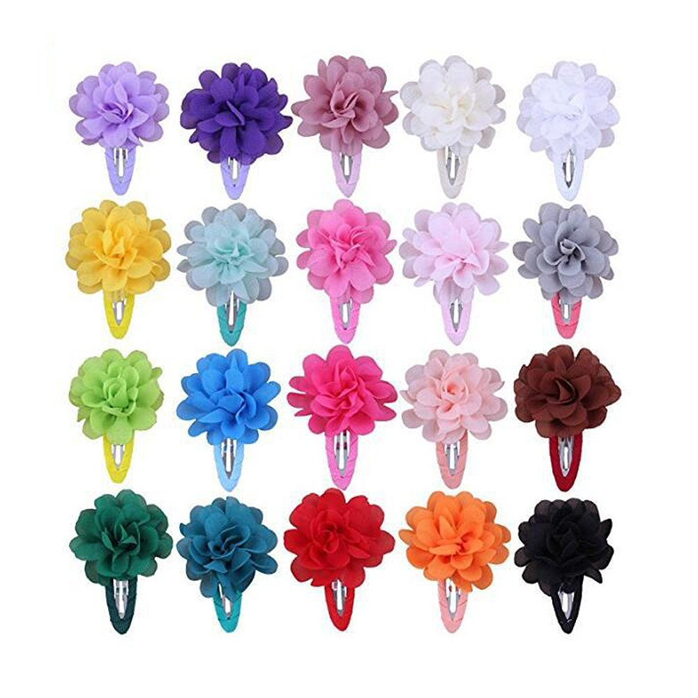lovinglove Chiffon Flower Rhinestone Hair Bow Clips For Teens Toddlers Kids Children (20 Colors)