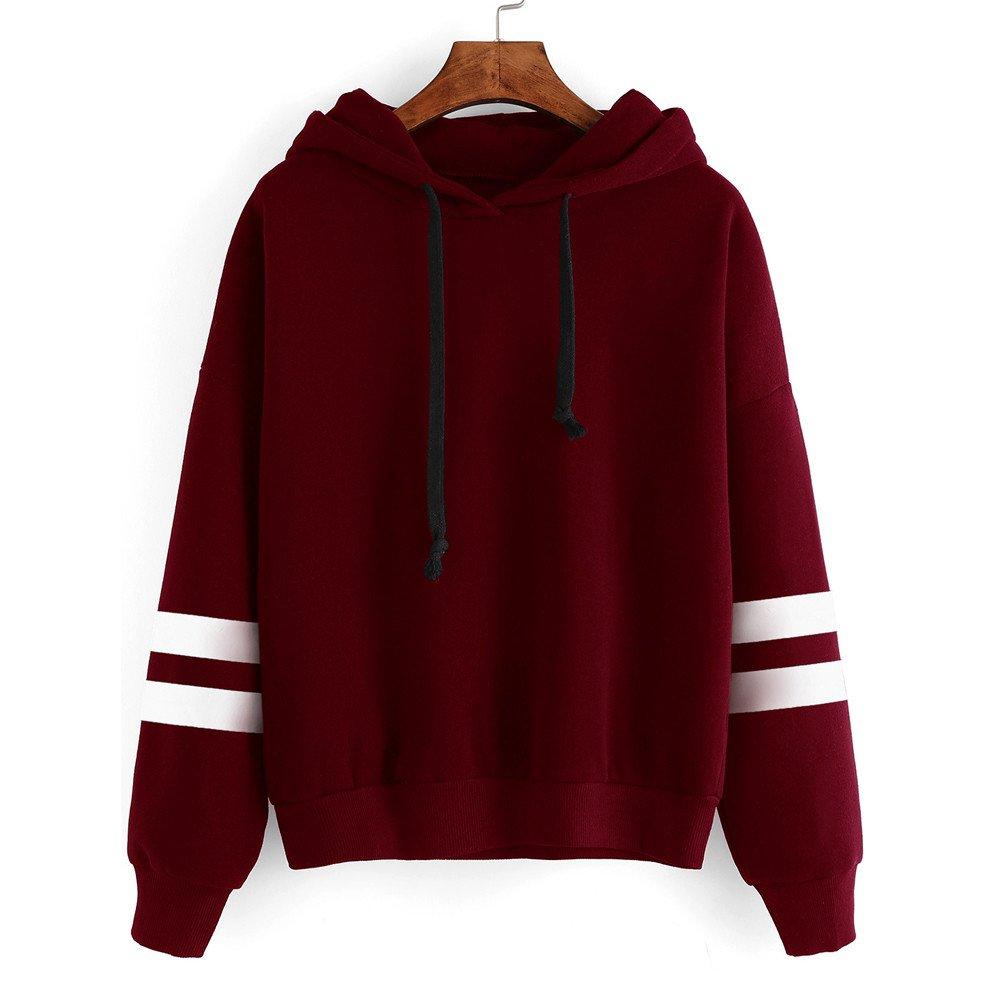 Women Hoodie, Farjing Long Sleeve Hoodie Sweatshirt Jumper Hooded Pullover Tops Blouse(S,Win Red)