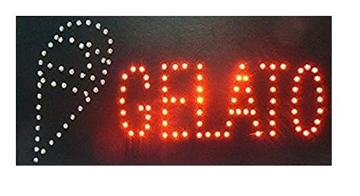 Ducomi® - Señal luminosa LED con texto – Panel vintage con neón luminoso intermitente – Ideal para tiendas, pubs, pizzerías o casa – 48 x 25 x 2,5 cm