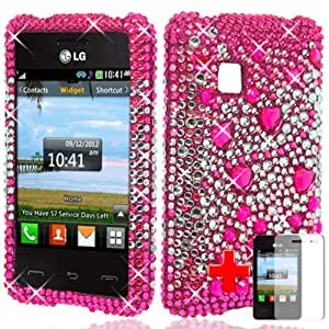LG 840G (Tracfone / Straight Talk / Net10), Diamond Bling Rhinestone, Pink Silver Hearts Hard Snap-on Case Cover + LCD Clear Screen Saver Protector