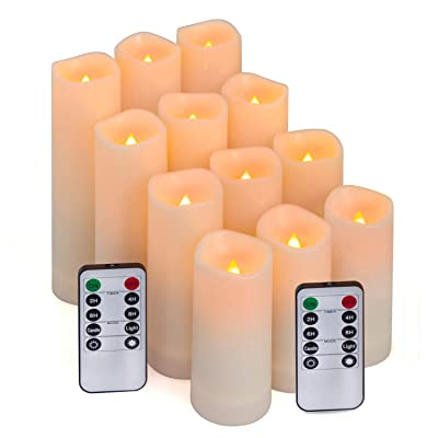 "Aignis Flameless Candles, Led Candles Set of 12(D 2.1"" X H 4"" 5"" 6"" 7"") Resin Candles with Remote Timer Waterproof Outdoor Indoor Candles (Made of Plastic): Home & Kitchen"
