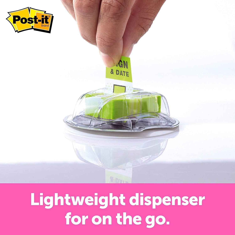 200//Desk Grip Dispenser 1-Inch Wide Bright Green Post-it Message Flags,Sign and Date 1 Pack 1-Dispenser//Pack 680-HVSD