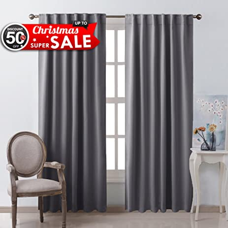 Blackout Curtain Panels Window Draperies   (Grey Color) 52x84 Inch, 2  Pieces,