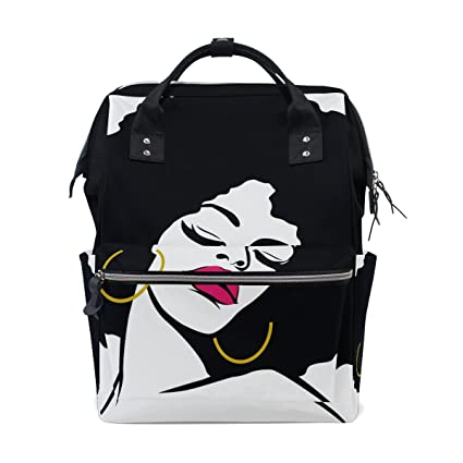 BENNIGIRY Afro Hair Hippie Woman Pop Art Diaper Bag Mochila de gran capacidad para viaje,