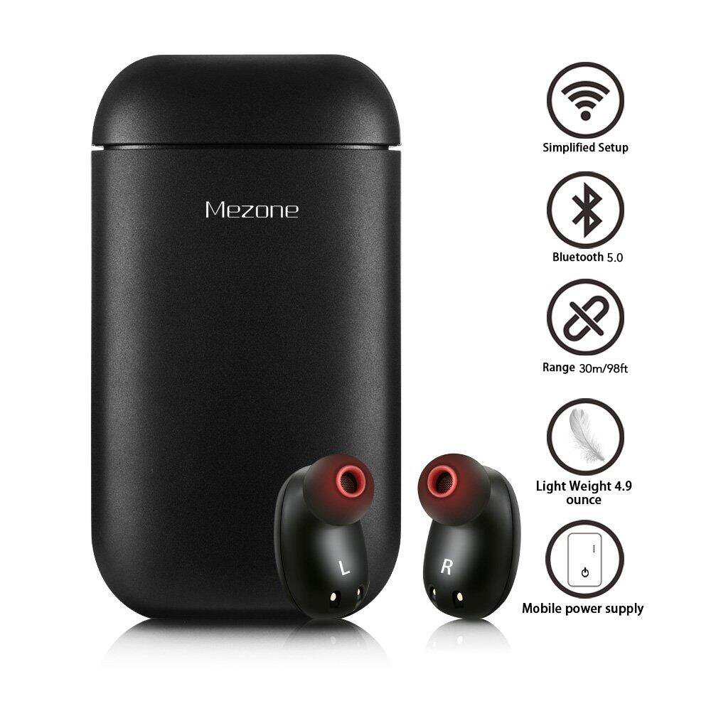 MEZONE Wireless Headphones Bluetooth Earbuds Mini Bluetooth Earpiece Noise Cancelling Headphones with Mic and Charging Case (Can Also be Used as Power Bank) for iPhone and Android Smart Phones(Black)