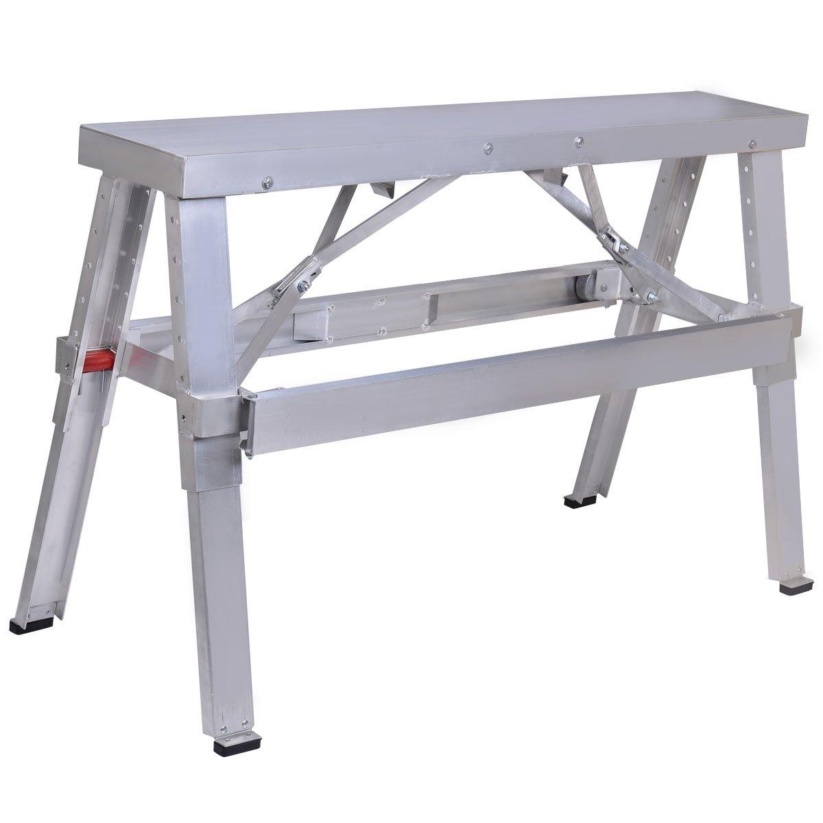 Toolsempire Aluminum Drywall Walk-Up Folding Bench Heavy Duty Workbench Adjustable 18''-30''