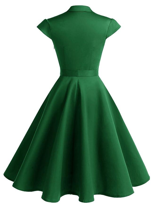 44b7b54fa1 Amazon.com: Wedtrend Women's 1950s Retro Rockabilly Dress Cap Sleeve Vintage  Swing Dress: Clothing
