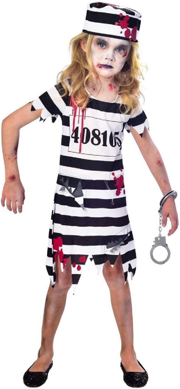 Girls Boys Prisoner Inmate Halloween Horror Fancy Dress Costume Outfit 3-12 Yrs