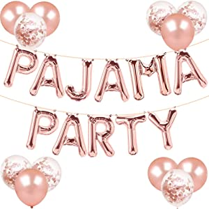 Pajama Party Decorations Rose Gold Pajama Party Balloons Banner Girls Slumber Sleepover Birthday Party Decor, PJ Mask Spa Pajama theme Party Supplies