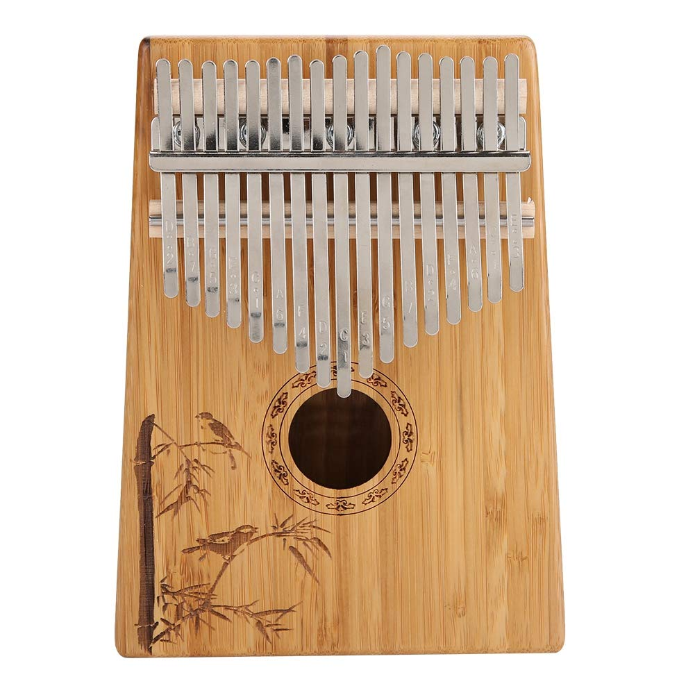 Thumb Piano, 17 Keys Kalimba Bamboo Finger Thumb Piano Musical Instrument Gift with Carry Bag Tone Hammer