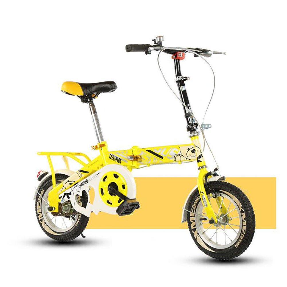 子供用折りたたみ自転車, 学生折りたたみ自転車 光ポータブル 生徒 折りたたみ自転車 8-12 歳の古い B07DFDZXLR 14inch|黄 黄 14inch