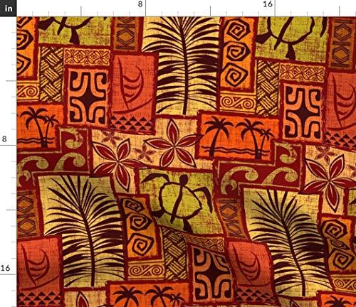 (Spoonflower Hawaiian Fabric - Hawaii Vintage Mod Red Orange Yellow Brown Hawaiian Tiki Tropical Polynesian by Madtropic Printed on Petal Signature Cotton Fabric by The Yard)
