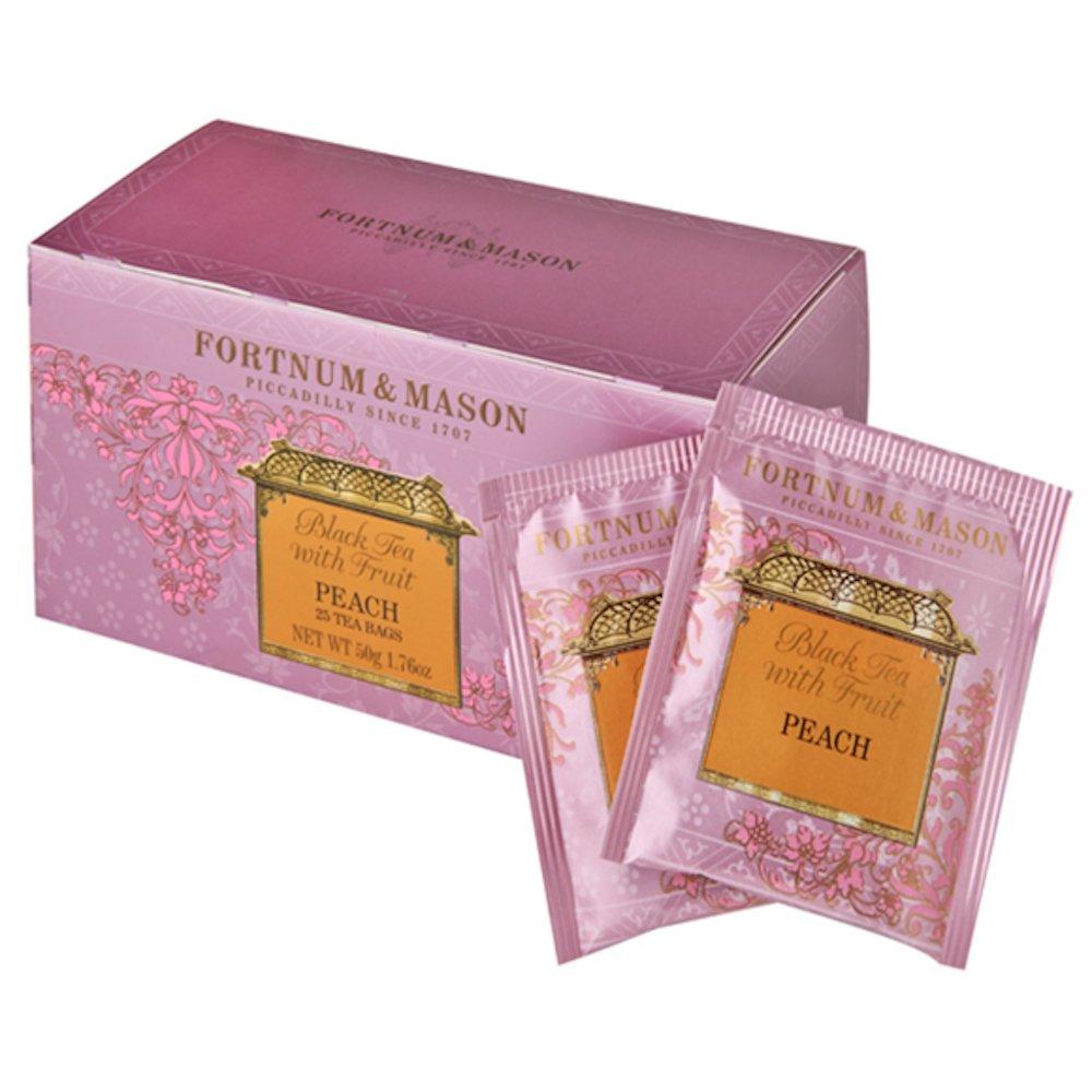 Fortnum and Mason British Tea, Black Tea with Fruit, Peach Flavor, 25 Count Teabags (1 Pack)