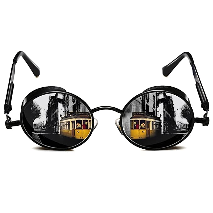 e1181324142 Rocknight Gothic Steampunk Polarized Full Metal Round Frame Sunglasses UV  Protection black   grey  Amazon.in  Clothing   Accessories