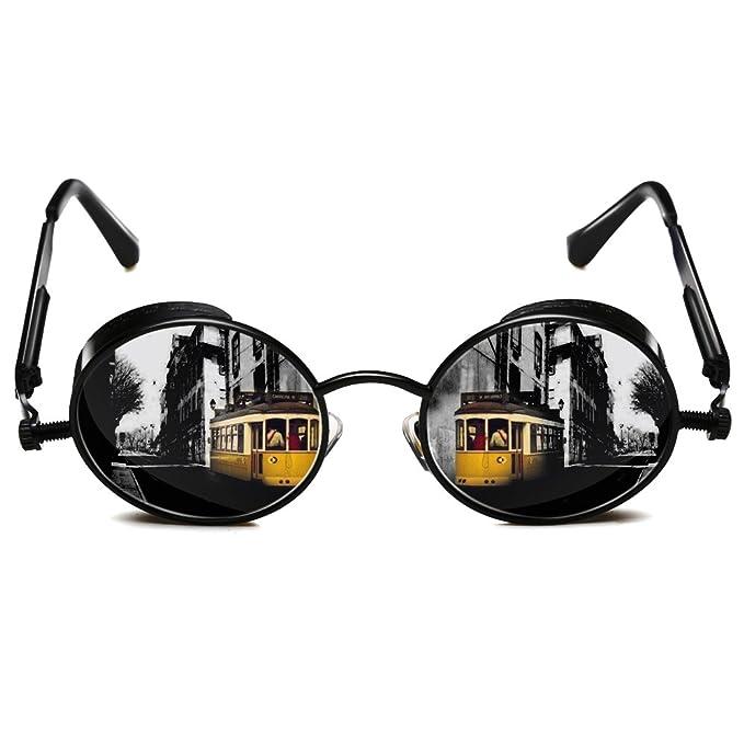 dfd7dcbf9aeb ROCKNIGHT Polarized Round Sunglasses For Men UV Protection Gothic Steampunk  Metal Frame Sunglasses